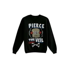 Pierce The Veil Skateboard Crew Pullover | Hot Topic ($20) ❤ liked on Polyvore featuring tops, sweaters, shirts, jumpers, pierce the veil, black sweater, crew shirt, crewneck sweater, pullover shirt and black top