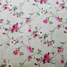 bbb9b7ce846d Ružové ružičky na prírodnom podklade dekoračná látka