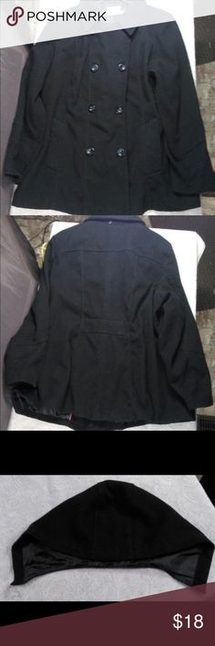 Black Plus Sized Peacoat Peacoat is in excellent condition. No sign of wear what so ever. Coat has an detachable hood (attaches with buttons on back of collar). Coat is a true size 3X. Faded Glory Jackets & Coats Pea Coats