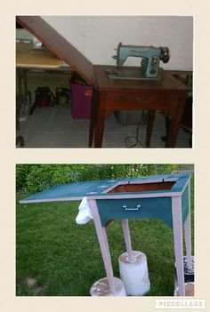 Diy garage sale find turned crackled side table diy projects i diy sewing machine turned drink bar do it yourself project solutioingenieria Image collections