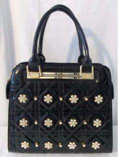 Bi Bo Black Patent Rhines Very Elegant Handbag or Cross Body Style