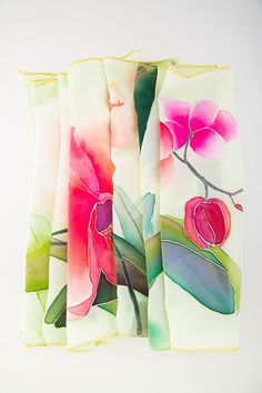 Handpainted Silk Scarf Orchids/ Green Red Pink by SilkIntuition