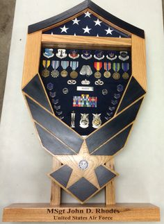 Solid Wood Military Shadow box; Air Force Symbol Smaller version for those that may not want something too big. With the base and engraving $300. $250 without the base and engraving. Contact Tom at jenkswood@gmail.com if you are interested in a box Pinterest-Jenkswood