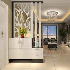 Living Room Partition Design, Living Room Divider, Room Partition Designs, Wooden Partition Design, Room Partition Wall, Wooden Partitions, Pooja Room Design, Home Room Design, Living Room Wall Designs