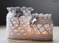 35 Modern Ideas for Crochet Designs, Latest Trends in Decorating Mode Crochet, Crochet Home, Crochet Gifts, Knit Crochet, Crochet Jar Covers, Art And Hobby, Crochet Decoration, Jar Crafts, Crochet Accessories
