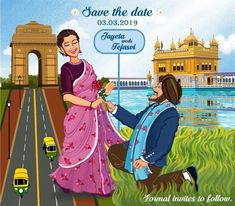 The save-the-date craze has been there for quite some time now. Earlier it used to be in form of a couple picture (mainly, from their pre-wedding shoot) or a small video, but now there's a new trend t. Wedding Card Wordings, Indian Wedding Invitation Cards, Engagement Invitations, Vintage Wedding Invitations, Printable Wedding Invitations, Wedding Stationery, Invites, Digital Invitations, Wedding Card Maker
