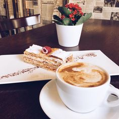 Start your day with coffee and delicious dessert in Caffe Dell' Artista Delicious Desserts, Coffee, Twitter, Tableware, Food, Artists, Kaffee, Dinnerware, Tablewares