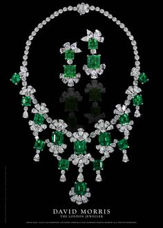 David Morris Emerald and Diamond Necklace with matching earrings
