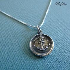Keep Hope -  Wax Seal Necklace of an Anchor. PlumAndPoseyInc, $50.00  Ne déspérons pas - Let us not despair