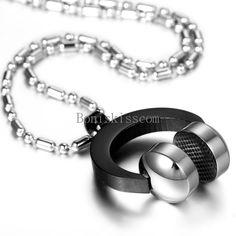 Mens Black Silver Stainless Steel DJ Headphone Pendant Music Necklace Chain #UnbrandedGeneric #Pendant