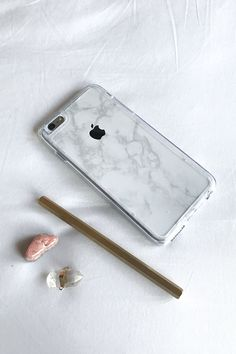 White Marble Skin + Clear Case (iPhone) - Updated Model