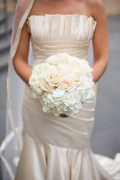bride and bridesmaids bouquets: love the classic simplicity of this, again the white ivory, and very soft pink, no greens