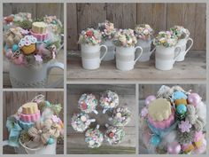 Teacup Crafts, Paper Flowers, Annie, Diy And Crafts, Jar, Scrapbook, Table Decorations, Spring, Gifts