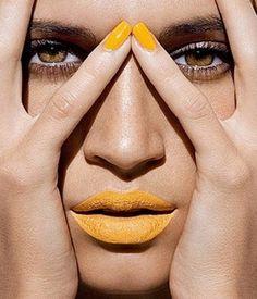 Yellow make up art and beautiful eyes