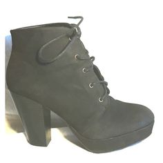 Black heeled Ankle booties I loooove these! Heeled black booties with laces. Mossimo Supply Co. Shoes Ankle Boots & Booties