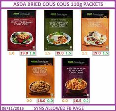 Slimming world Asda couscous syns Asda Slimming World, Slimming World Syns List, Slimming World Puddings, Slimming World Vegetarian Recipes, Slimming World Syn Values, Slimming World Diet Plan, Slimming World Snacks, Slimming Eats, Slimming World Recipes