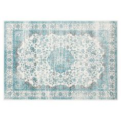 Check out this item at One Kings Lane! Hagley Rug, Cream/Teal