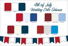 Red, white and blue wedding color palette
