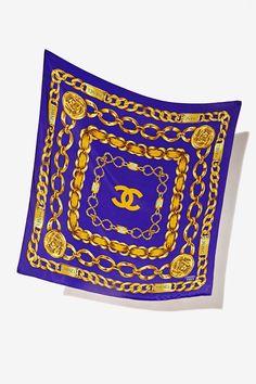 Vintage Chanel Rue de Cambon Purple Silk Scarf