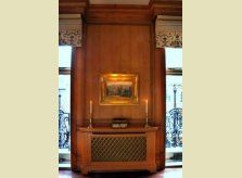 Waxed pine radiator cover with brass grille to front, hand made by Hallidays craftsmen