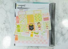 Pink Lemonade horizontal planner sticker kit - Erin Condren horizontal sticker kit - planner stickers - planner kit - summer - lemonade girl by PrettyEasyPlanning on Etsy