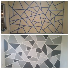 Geometric accent wall Geometric accent wall The post Geometric accent wall & Wandgestaltung ideen appeared first on Geometric paint . Accent Walls In Living Room, Accent Wall Bedroom, Diy Wand, Geometric Wall Paint, Geometric Art, Wall Paint Patterns, Room Wall Painting, Tape Painting, Bedroom Wall Designs