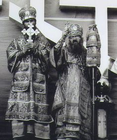 "Metropolitan Philaret & St John of Shanghai blessing the huge crosses to be lifted on top of the domes of the ""new"" Joy of All Who Sorrow Cathedral in San Francisco ... mid - 1960's ..."