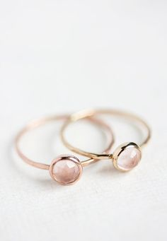 Rose quartz and rose gold ring, rose cut, thin stacking ring, pastel pink, delicate gold ring, solid 14k gold ring, thin gold band on Etsy, $115.32... This is cute.