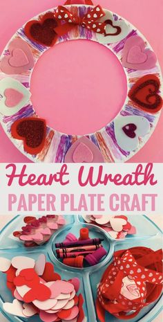 Valentine Heart Paper Plate Wreath Craft - Perfect for class parties and play dates! Valentine Heart Paper Plate Wreath Craft - Perfect for class parties and play dates! Valentine's Day Crafts For Kids, Valentine Crafts For Kids, Daycare Crafts, Classroom Crafts, Preschool Crafts, Kid Crafts, Kids Diy, Creative Crafts, Fall Crafts