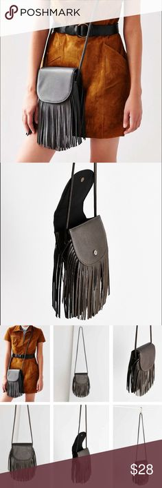 UO Fringe Crossbody Bag - Gray Faux leather. Brand new with tags no defects. By ecote from urban outfitters. Smoke free pet friendly. Urban Outfitters Bags Crossbody Bags