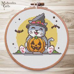 Cross Stitch Floss, Fall Cross Stitch, Cat Cross Stitches, Halloween Cross Stitches, Cross Stitch Fabric, Cross Stitching, Cross Stitch Embroidery, Butterfly Cross Stitch, Cross Stitch Designs