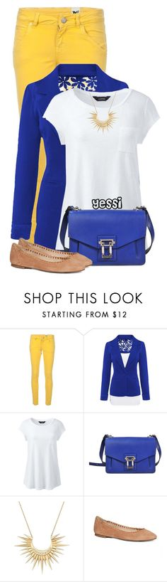 """~ 💕 Blue & Yellow 💕 ~"" by pretty-fashion-designs ❤ liked on Polyvore featuring M Missoni, Lands' End, Proenza Schouler, Celine Daoust and Jack Rogers"