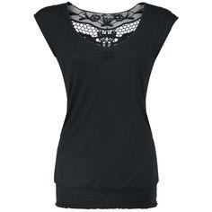 """Tee-shirt """"Backlace"""" pour Femme  Tee-shirt léger avec dentelle dans le dos :   - partie froncée sur le décolleté en V - base à la finition smockée.  Tee-shirt noir avec dentelle dans le dos et sur les épaules. Ce top décontracté comporte également une finition smockée dans le bas."""