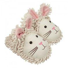 Женские штучки: тапочки - мягкие игрушки - тапочки Fuzzy Friends Белые кролики - размер 36/43