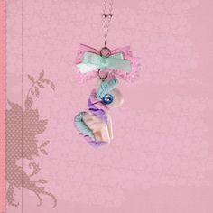 Pegasus Kette Halskette Anhänger mit Schleife kawaii Schmuck handgemacht