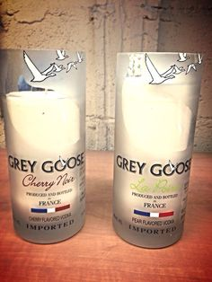 Grey Goose apple/raspberry scented soy wax candles.  on Etsy, $34.99 CAD