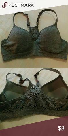 Brand new push up crochet back sports bra New Grey push up crochet bag sports bra with adjustable straps Rue 21 Intimates & Sleepwear Bras