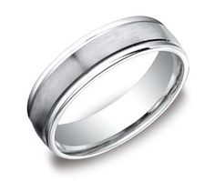 Men's Platinum 6mm Comfort Fit Plain Wedding Band with High Polished Round Edges and Satin Center