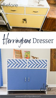 Transform an old cabinet or cupboard into much-loved toy storage.  Paint a cabinet with a herringbone pattern for a fun toy cupboard.