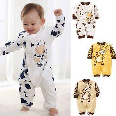 Cute Cow Neonato Ragazze Dei Ragazzi Vestiti Del Bambino Outfit Vestiti Infantili Del Pagliaccetto 0-24 M