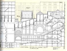 Louis Sullivan, section of Auditorium Building, Chicago. Michigan, Louis Sullivan, Chicago School, Prairie School, Building Drawing, Theatre Design, Building Structure, Auditorium, Concert Hall