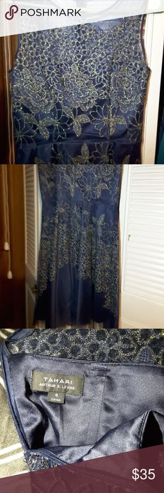 Straples Navy Tahari Dress with Gold Floral Design Strapless Evening Gown Dress, Great condition, only worn twice, very comfortable Tahari Dresses Strapless