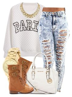 """""""."""" by trillest-queen ❤ liked on Polyvore featuring Retrò, MICHAEL Michael Kors, Michael Kors and Charlotte Russe"""