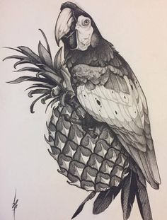 Эскиз тату с попугаем ара и ананасом