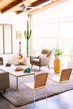 Mid Century Style + Leather Chairs