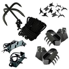 Ninja Climbing Gear Gift Set For Sale from AllNinjaGear.com   Carbon Steel Folding Grappling Hook with 33 ft of tough braided nylon rope, Shuko Hand Claws set of 2, and Foot Spikes set of 2