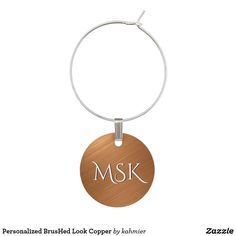 Personalized BrusHed Look Copper Wine Glass Charm