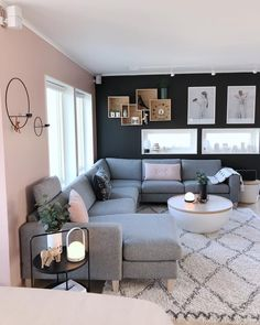 Cozy Living Room For Your Home - Living Room Design Small Living Room Design, Living Room Decor Cozy, Living Room Goals, Living Room Grey, Home Living Room, Living Room Designs, Living Spaces, Lamps In Living Room, Blue And Pink Living Room