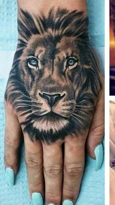 Image result for tattoos lion head on hand