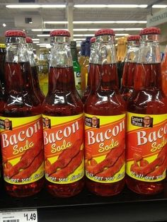 When someone decided soda needed to be more bacon-y. 18 Times Humanity Went Too Far Gross Food, Weird Food, Bacon Soda, Bacon Bacon, Food Fails, Exotic Food, Bacon Recipes, Food Humor, Junk Food